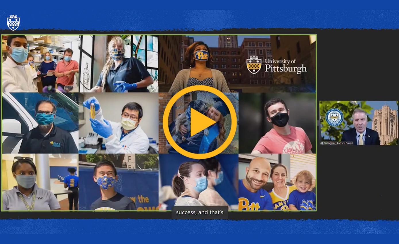 A screen shot of a video featuring Pitt community members