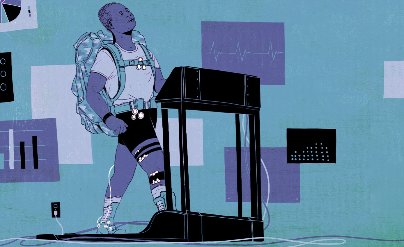 blue, black and purple illustration of a man on a treadmill with a heavy-looking backpack and wires attached to his body