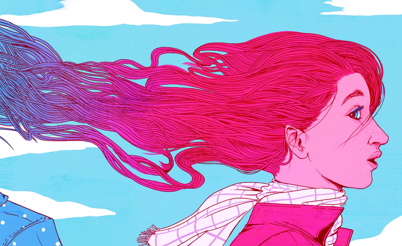 Illustration of girl with long hair flowing back behind her connecting to another girl's hair