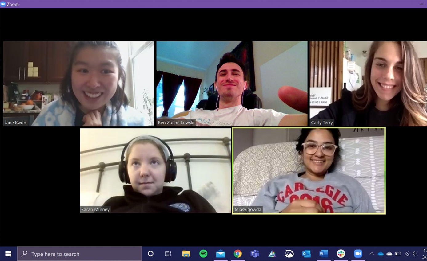 A Zoom conference call with five medical students present