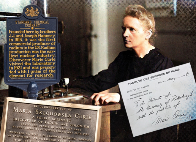 Collage of Marie Curie and commemorative plaques of her