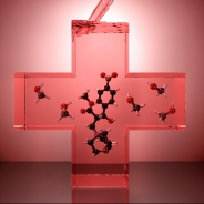 a red see-through cross with little chemical/atom bits in it