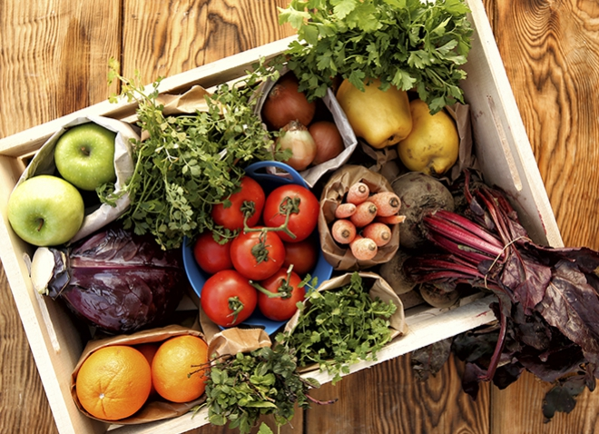 a box of vegetables, shot from above