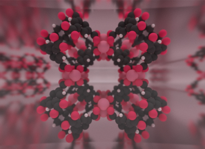computer model showing a pink and black structure representing technology to capture carbon dioxide from coal-fired power plants