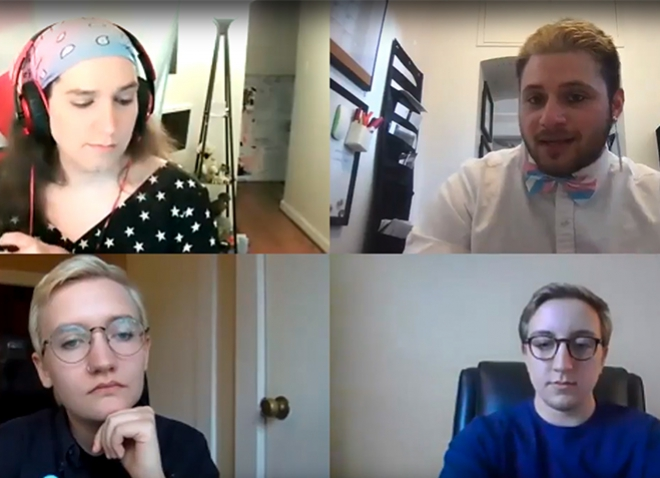 A Zoom meeting with four visible participants