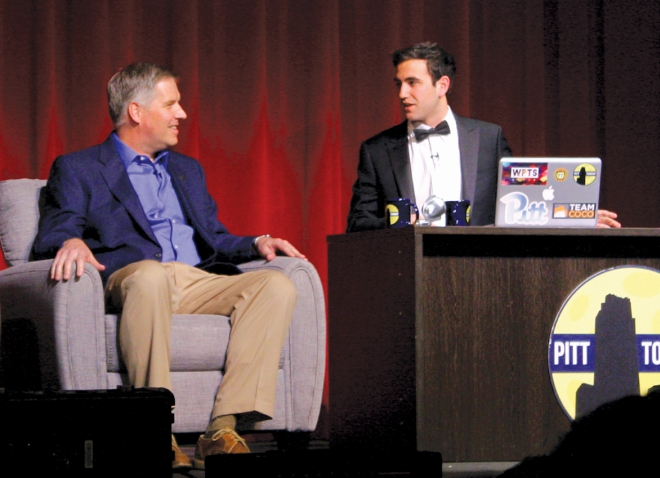 Chancellor Gallagher and Jesse Irwin on stage during a Pitt Tonight interview