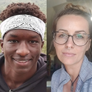 Simon Kioko in a white headband and black hoodie on the left, Dijana Mujkanovic in a grey shirt on the right