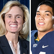 Headshot of Heather Lyke in navy blazer and white blouse with script Pitt lapel pin and headshot of James Conner in Pitt football jersey
