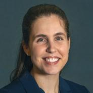 Nicole Sekel in a dark blue jacket