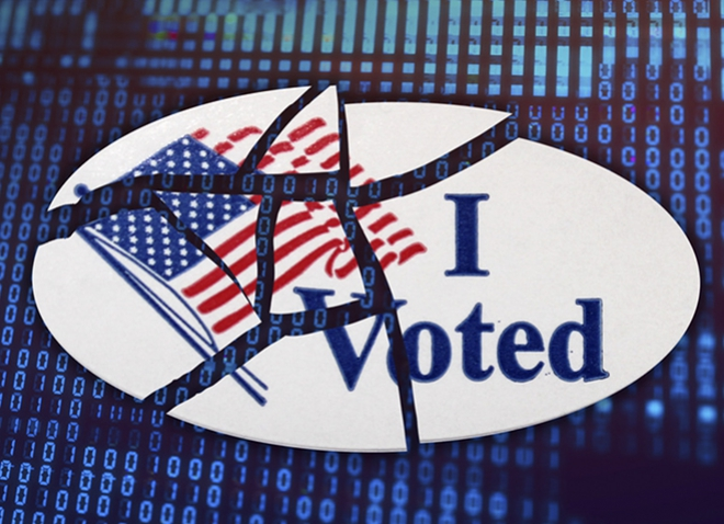 """an """"I Voted"""" sticker that's broken into pieces on top of a background of 1s and 0s"""
