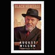 A stamp featuring an oil painting of August Wilson