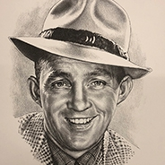 An artist's rendition of Bing Crosby wearing a hat and a checkered jacket