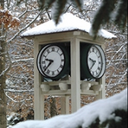 A clock tower in the Pitt-Bradford campus