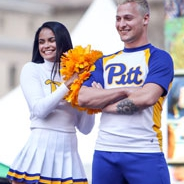 a female and male cheerleader in Pitt gear