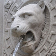 A panther statue fountain