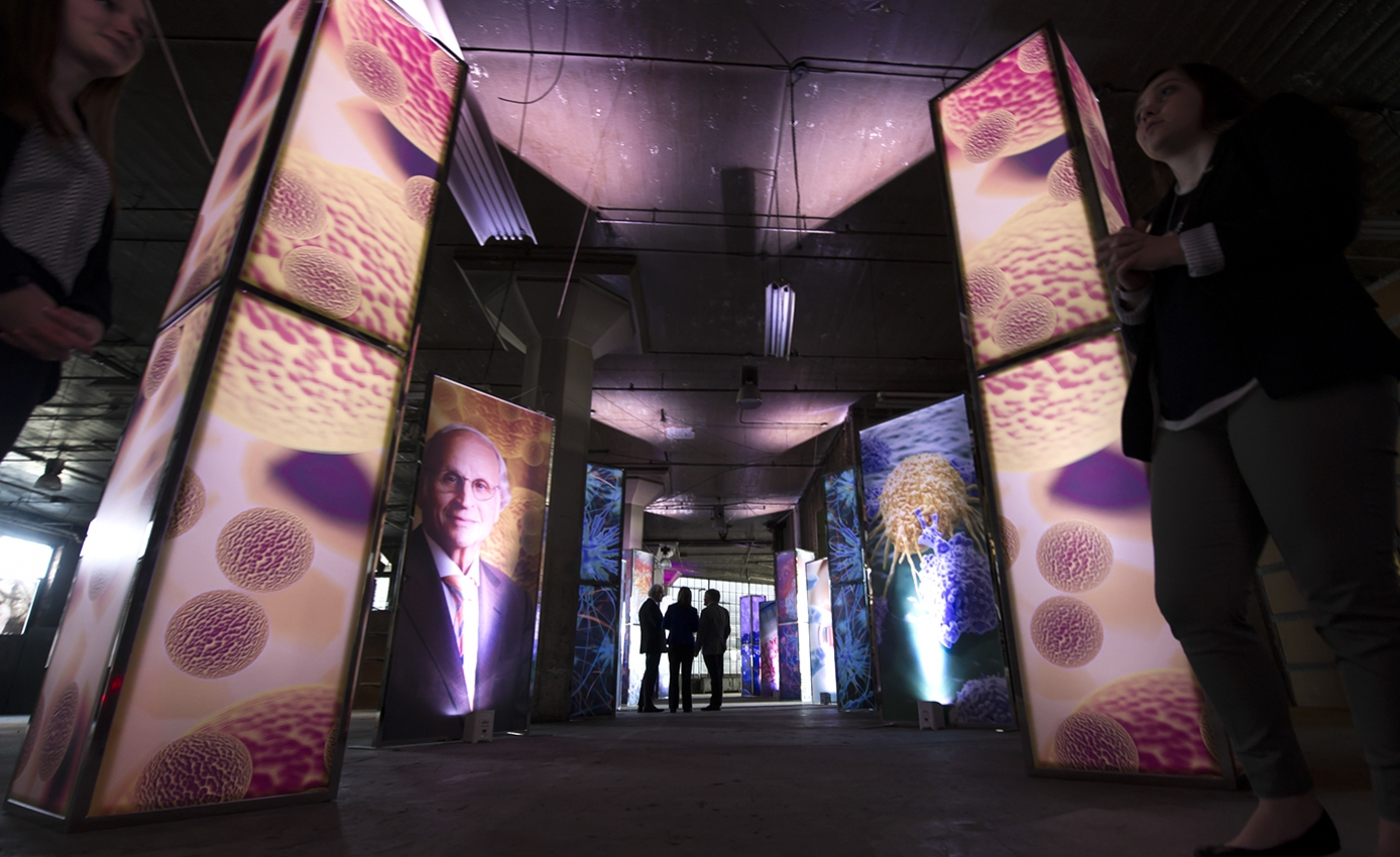 Interior of 5000 Baum Building, decorated with display artistic-scientific display panels for announcement event