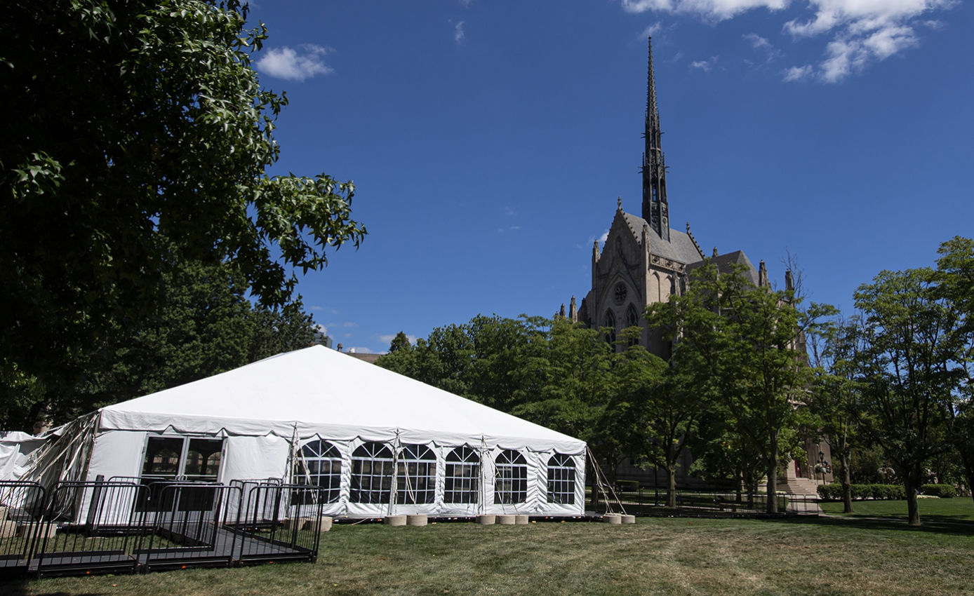 A large tent on a lawn