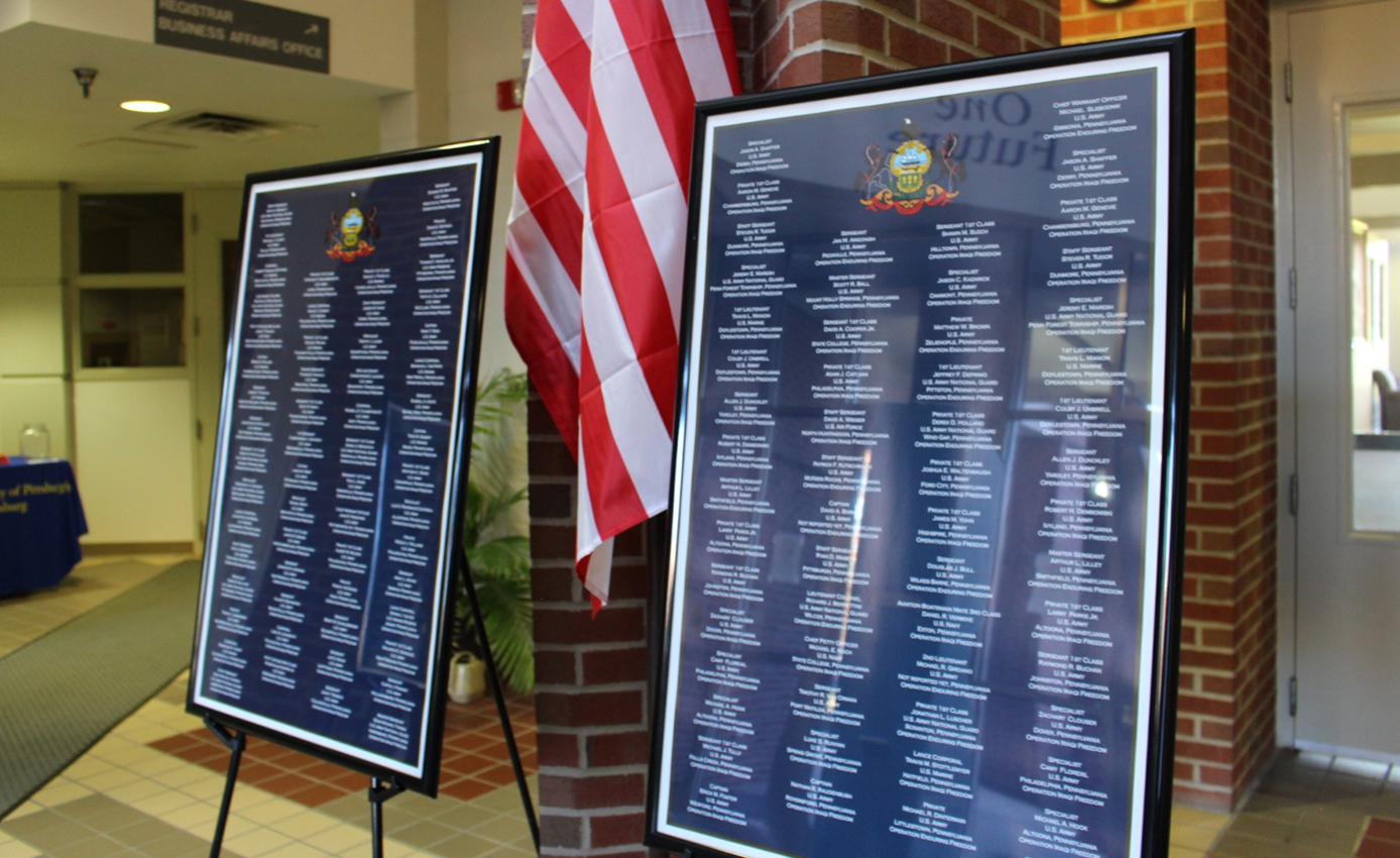 Two memorial displays with names of veterans