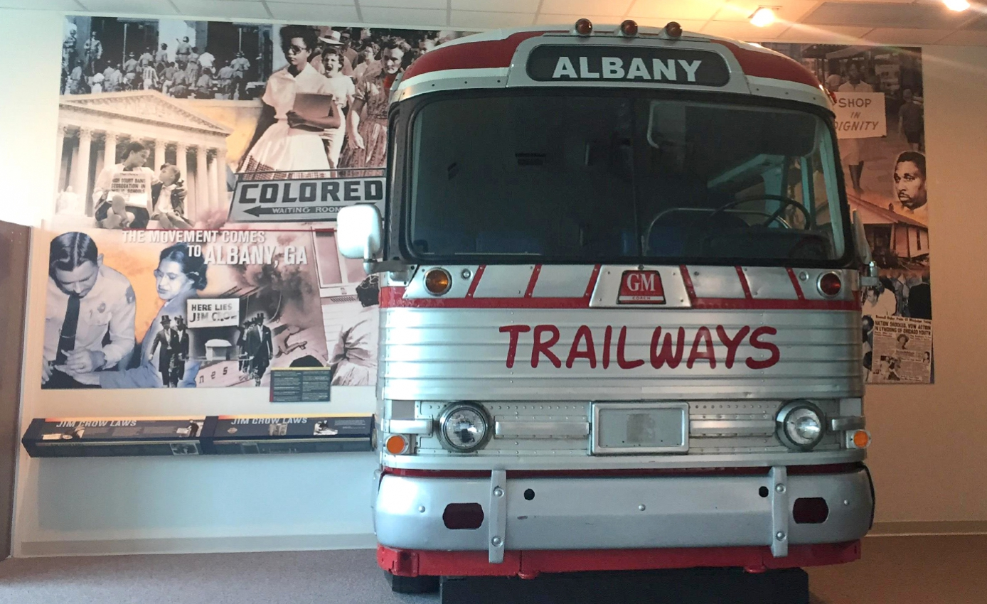 Bus displayed at a museum