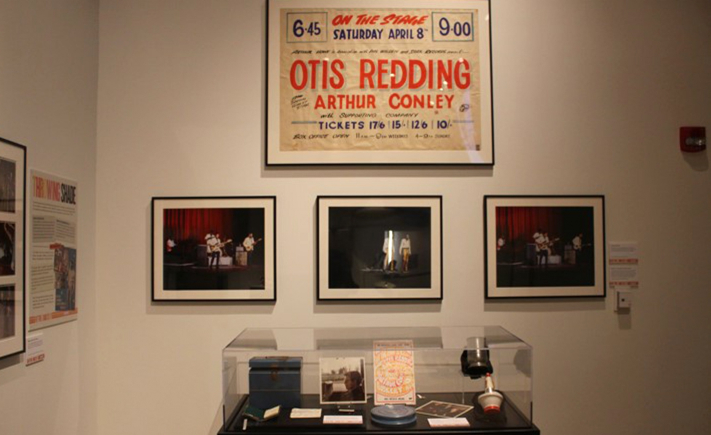 Museum display of Otis Redding memorabilia