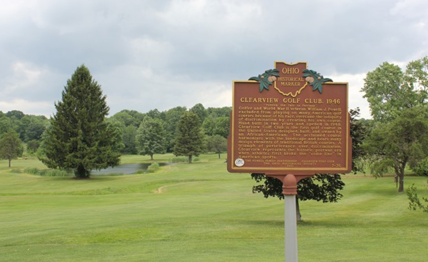 Plaque commemorating the first golf course opened to African Americans
