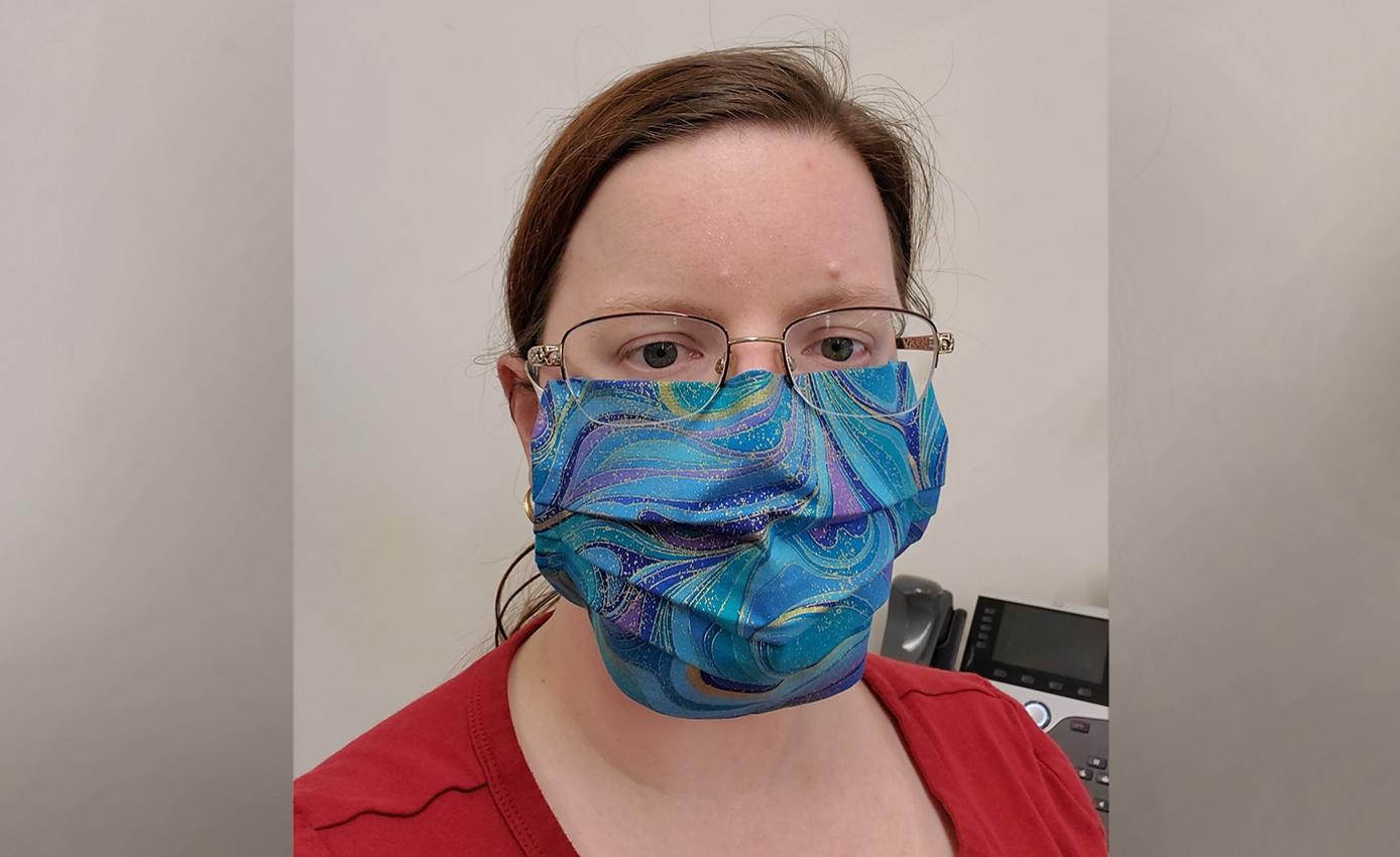 Erin Burke wearing a face mask
