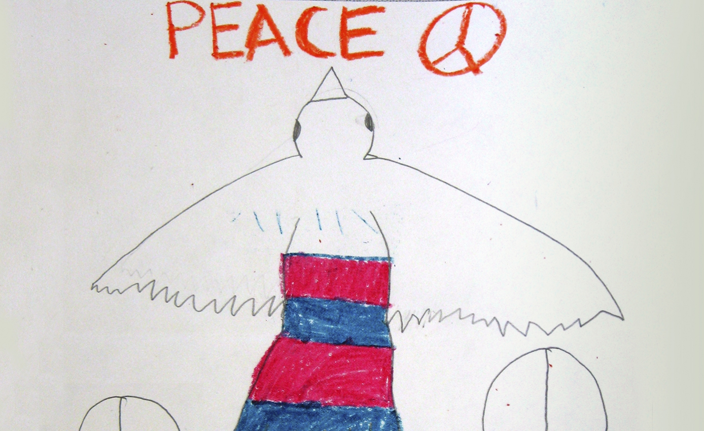"children's drawing of a dove with red and blue stripes on its body; the word ""peace"" is written at the top and three peace signs surround the bird"