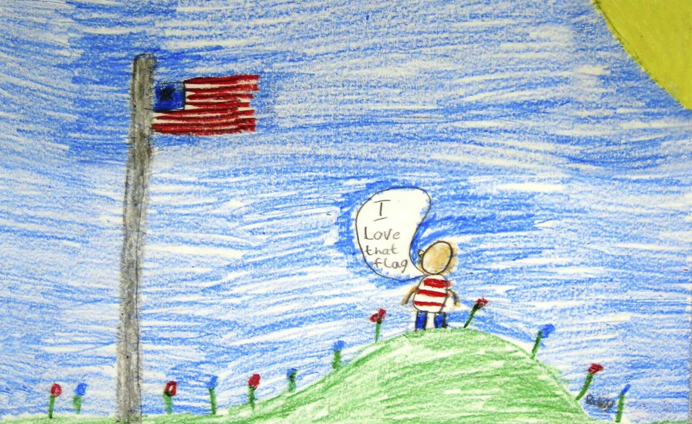 "a drawing of a person standing on a green hill wearing blue pants and a white and blue shirt, looking at an American flag. The person has a speech bubble that reads ""I love that flag"""