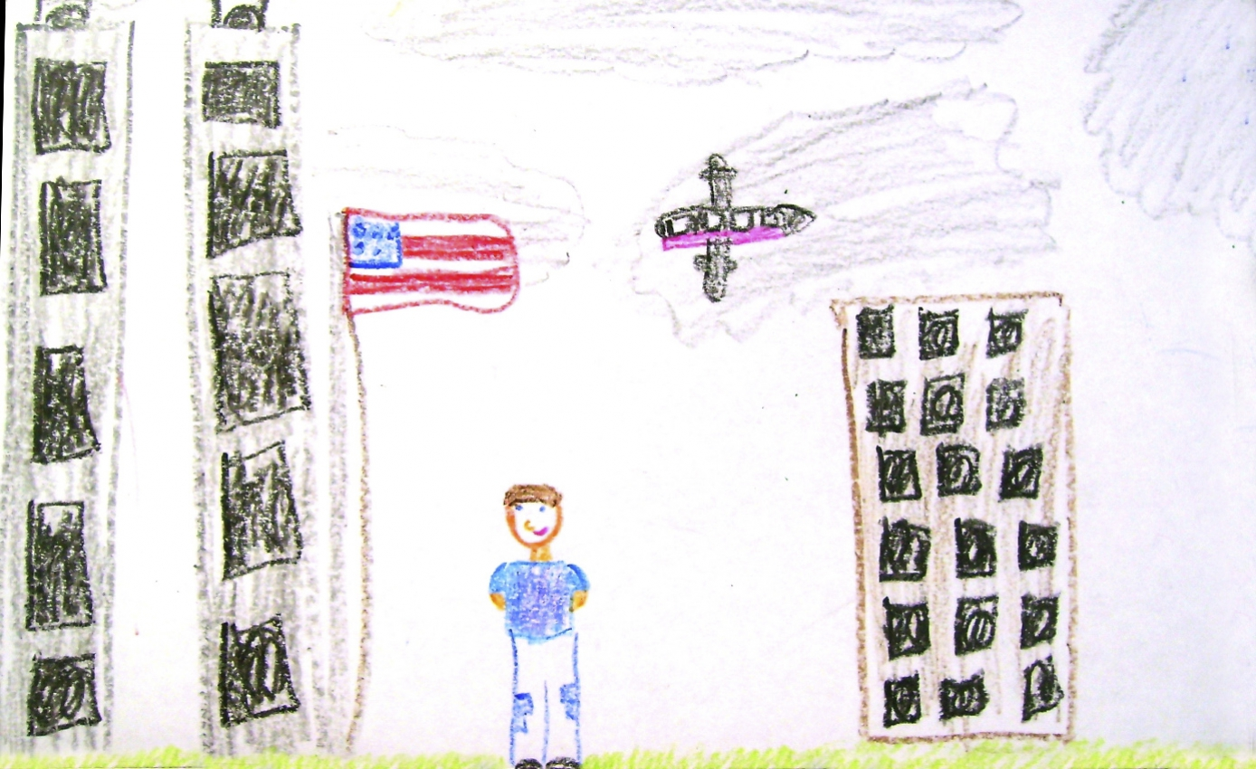Drawing of a person standing between buildings, with a plane in the air, an American flag on a pole, and perhaps the Twin Towers on the left side