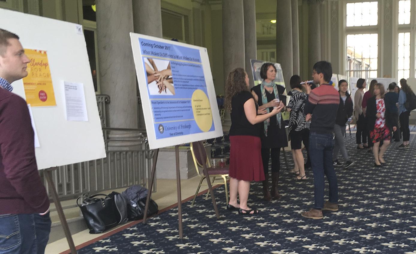 Poster display in William Pitt Union