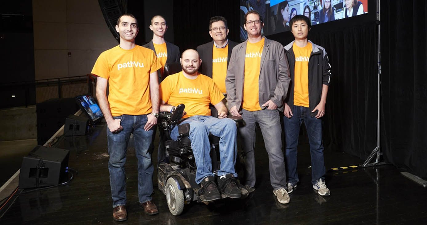 The cofounders of pathVu, (from left) Eric Sinagra, Ian McIntyre, Jon Duvall, Ed Bacheson, Jon Pearlman, and Tianyang (Tim) Chen.