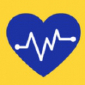 Blue heart with a white life support symbol on a yellow background