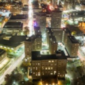 Birds eye view of Pitt campus at night