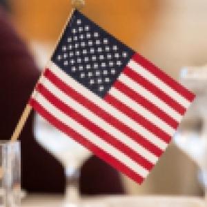 Miniature American flag decorating a centerpiece