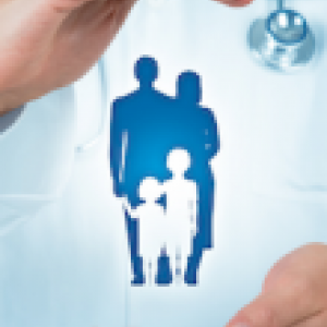 Doctor holding the image of a family in his hands