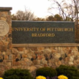 A sign for the University of Pittsburgh at Bradford