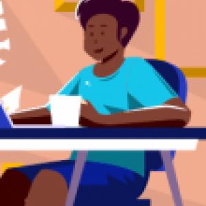 Art of a woman on a laptop