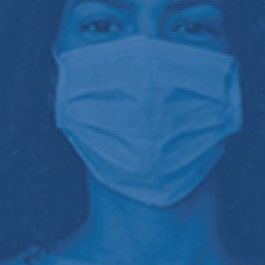 A blue photo of a person in a face mask