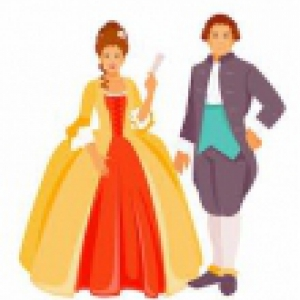 Clipart of a man and woman dressed in clothing from the late 1700s