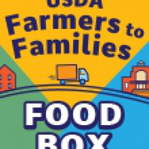 """A sticker with the USDA """"Farmers to Families"""" title"""