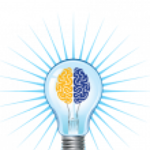 Graphic of a lightbulb with a gold and blue brain inside