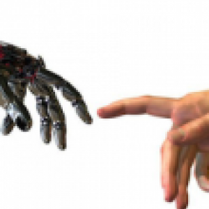 Robot and human hand nearly touching