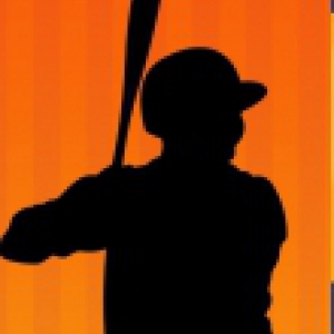 Silhouette of a baseball player on an orange background