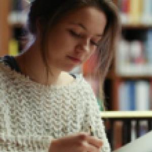 A student studies