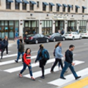 Students crossing the street