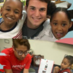 Volunteers interacting with children