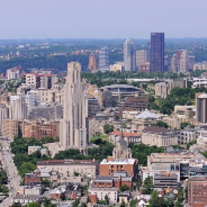 View of Pittsburgh skyline from campus