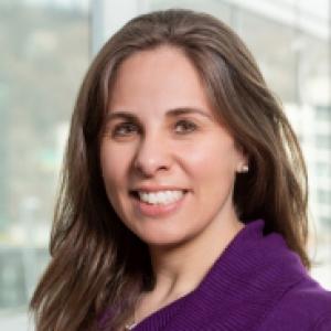 Natalie Leland in a purple sweater
