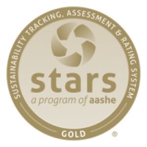 """A gold circle that says """"Stars"""" in the middle"""