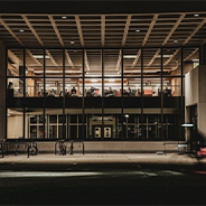 Posvar Hall at night